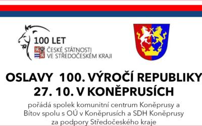 Oslavy 100. výročí republiky – 27. 10. v Koněprusích